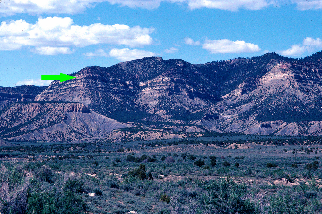 Figure 4: View of the Book Cliffs east of Price, Utah. The arrow points to the flat tan Castlegate Sandstone that extends for 160 kilometers.