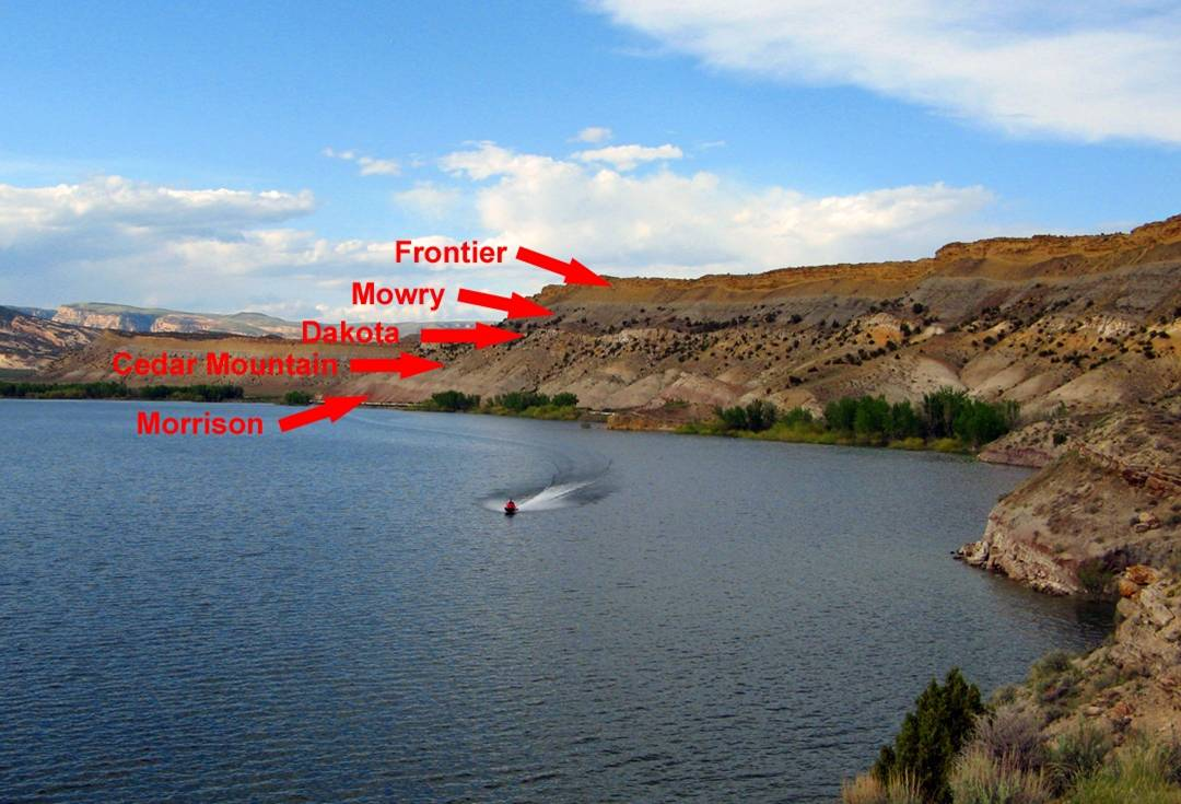 Figure 2: Five formations from the Mesozoic as seen just north of Vernal, Utah.