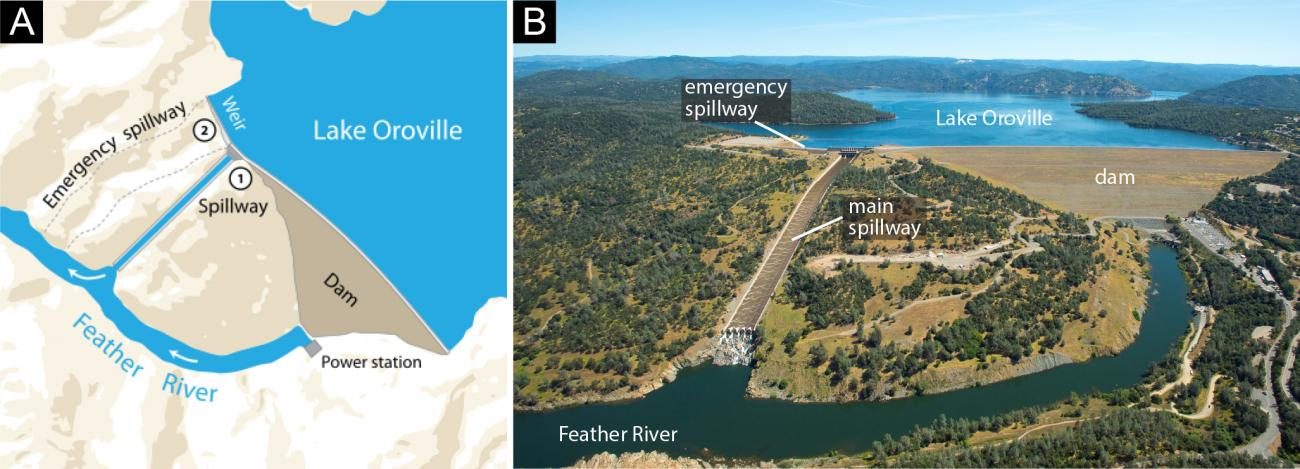 Map Of California Oroville Dam.Geoscience Research Institute Rapid Bedrock Incision By Water